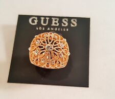 Sophisticated Guess Gold Plated Adjustable Stretch Ring Rhinestones