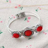 New Womens Retro Vintage Bohemia Red Natural Stone Tibetan Silver Bracelet Cuff