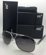New MONTBLANC Sunglasses MB 514S 16V 63-13 140 Silver Aviator Frame w/ Grey Fade