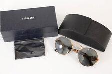 Prada SPR55T gold tortoise shell logo gradient round frame sunglasses NEW $390