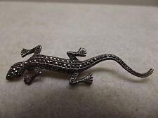 Vintage 925 Sterling Silver Marcasite Lizard Pin Brooch