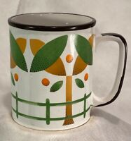 Vintage Japan, Orange Grove, Country, MCM, COFFEE MUG ORANGE GREEN Mid Century