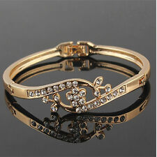 18k Gold Plated Straight Clear Austrian Crystal Wrist Bracelet Bangle Jewelry