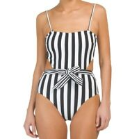 ONIA Rumi Black White Striped One Piece Swimsuit MEDIUM NWT $195 X81-82