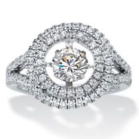 1.74 TCW CZ in Motion Cubic Zirconia Platinum over .925 Silver Double Halo Ring