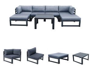 7 Pcs Modern Outdoor Patio Furniture Sets Sectional Sofa Garden Conversation Set
