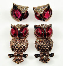 VTG 30'S RARE CORO RUBY CABOCHONS OWL DUETTE FUR CLIPS & MATCHING EARRINGS