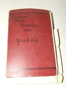 Antique 1928 Scrap Book - Personal Daily Reminder; Photos, Pics, Poems, Drawings
