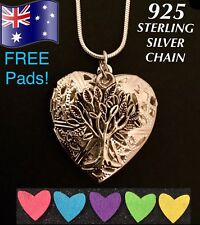 Tree of Life Oil Diffuser Heart Pendant Locket 925 Sterling Silver Necklace Gift