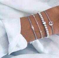 4pcs Silver Heart Bead Map Bracelets for Fashion Women Boho  Bracelet Bangle
