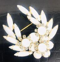 Juliana Delizza & Elster Rhinestone Brooch White Navettes Vintage Jewelry