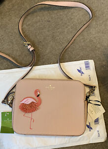 Bnwt Kate Spade New York Pale Pink 'By The Pool' Leather Flamingo Camera Bag