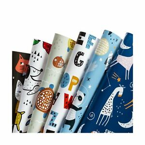 WRAPAHOLIC Wrapping Paper Sheet - Cute Animal Design for Birthday, Holiday, P...