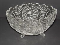 BOHEMIAN CZECH LEADED CUT CRYSTAL  FOOTED BOWL STAR OF DAVID AND FLORAL DESIGN