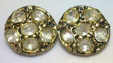 """New listing Set Of Two 2 Vintage Rhinestones Buttons 1"""" 25 Mm"""