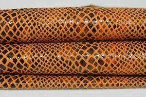 SNAKE PRINT ON TANGERINE Italian Goatskin leather skins hides 6sqf 0.8mm #A6919
