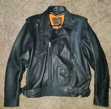 """First Classics Men's Motorcycle """"The Enforcer"""" Black Leather Jacket XL"""