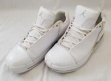 Mens Size 10.5 White Metallic Silver Jordan TE III Leather Basketball Shoes used