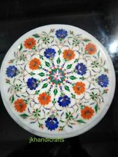 "10"" Round Table Top Marble Handmade Marquetry Inlay Rolling Board For You"