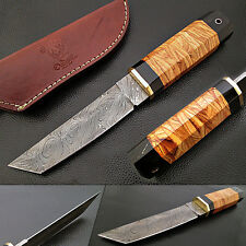 Rebel Nemesis DAMASCUS TANTO Knife Custom Olive Wood Handle 10in FORGED Steel