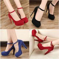Women Round Toe Block High Heel Pump Platform Shoes FT