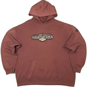 Vintage HARLEY DAVIDSON Hoodie  A+Color/Fade/Distressing RUST/BURNT/ORANGE  LRG