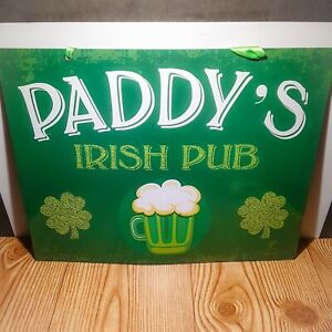 Paddy's Irish Pub Saint Patrick's Day Green Hanging Tin Sign