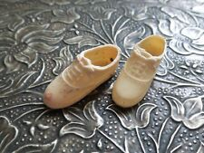 UNUSUAL! TINY Tie Up MENS? VINTAGE DOLL SHOES for your antique DOLL marked JAPAN