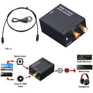Digital zu Analog Audio Konverter Wandler Optisch Toslink Koaxial auf RCA 3.5mm