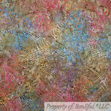 BonEful FABRIC Cotton Quilt Brown Rainbow BATIK Leaf Flower Tone Tonal Dot SCRAP