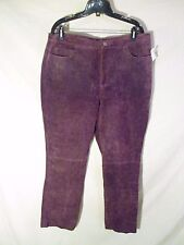 """NEW Women's New York Jeans Suede Leather Pants Purple/Wine $149 Tag-16 x30"""" ins."""