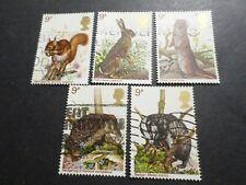 GB GRANDE BRETAGNE UK, LOT 5 timbres ANIMAUX BOIS, RONGEURS, oblitéré STAMPS
