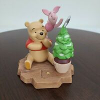 1998 Disney Winnie The Pooh And Piglet Christmas Tree Figurine Ceramic 4.5""