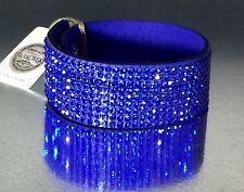 Swarovski Elements Bracelet Crystal Royal Blue Alcantara Leather Wide Bling Cuff