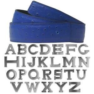 Ledergürtel Wendegürtel Strauß.Electric Blue mit Gürtelschnalle 32mm H Silver