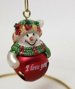 Jingle Bell Snowman Ornament I love you Red green Ganz