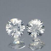 2Pcs / $15.99 Round 5MM. Matching Pair AAA Diamond Cut Natural White Zircon 1CT.