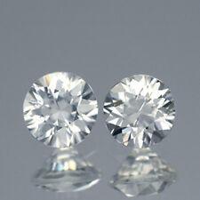 2Pcs / $29.99 Round 6MM. Matching Pair AAA Diamond Cut Natural White Zircon 2CT.