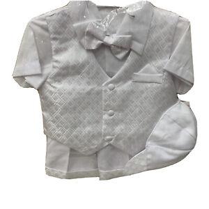 Baby Boy Toddler Baptism Church Formal Paisley Vest Short Suit White Hat Size 3T