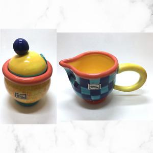 Rare Vintage Department 56 Creamer & Sugar *Set of 2* Yellow, Blue Contemporary
