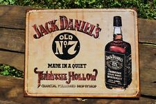 Jack Daniels Old No. 7 Whiskey Tin Metal Sign - Bottle - Made Tennessee Hollow