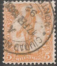 "Uruguay Stamp - Scott #160/A78 5m Orange ""General Artigas"" Canc/LH 1904"