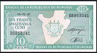 1997 BURUNDI 10 FRANCS BANKNOTE * UNC * P-33d *