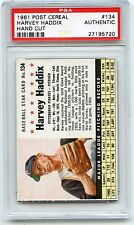 "1961 POST CEREAL #134 HARVEY HADDIX ""HAND CUT"", PIRATES - PSA AUTHENTIC (95720)"