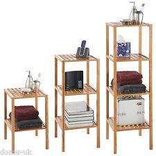 VonHaus Wooden Bamboo Bathroom Lattice Storage Shelf - 2 / 3 / 4 Tier Shelves