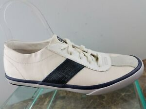 Tory Burch White Blue Striped Lace Up Casual Oxford Sneakers Shoes Womens 9.5M