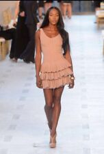 Auth NWT-Azzedine Alaïa Robe Aigrette Chair Beige Dress Sz 38 $4990. SOLD OUT!!!