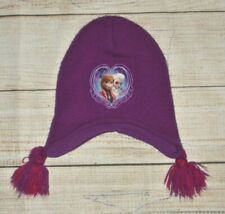 Girls Disney Frozen Princess Anna Elsa Purple Yarn Tassel Winter Warm Fleece Hat