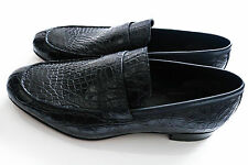 $5900 NEW BRIONI Navy Crocodile Leather Shoes Loafers Size 12 US 45 Euro 11 UK