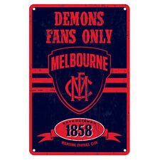 Melbourne Demons Fans Only AFL Retro Metal Tin Wall Sign Gift Man Cave Bar Shed